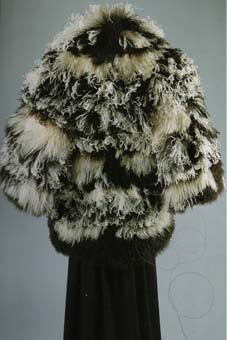Dior evening coat, white and black Ostrich feathers and Mongolian goat hair