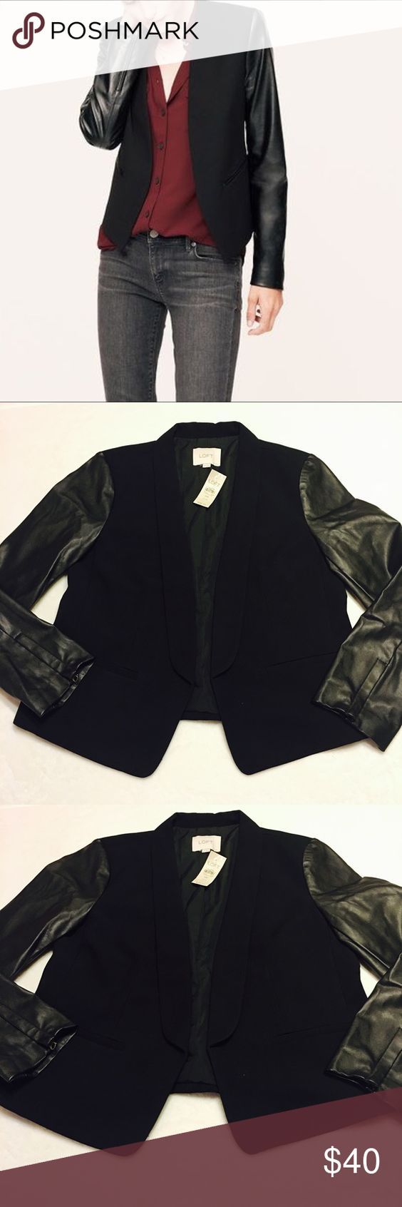 ‼️Sale‼️Ann Taylor LOFT Blazer with Faux Leather A beautiful open blazer with faux leather sleeves. A gorgeous and sexy addition to any closet. This is a petite article. LOFT Jackets & Coats