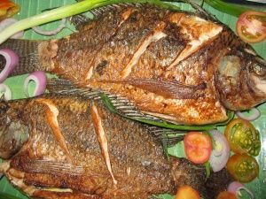Fried Tilapia - Yummy fish caught in Lake Victoria and enjoyed in parts of Sudan, Kisumu, Kenya and Kampala, Uganda. In Kisumu it's also recooked, whole, in a stew of tomatoes & onion.