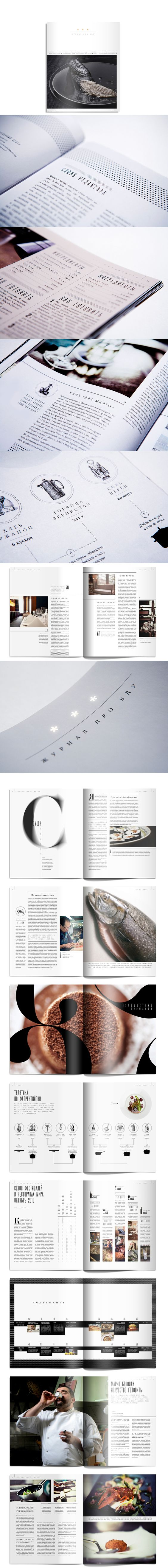 Creative magazine design inspirations: Three stars Food Magazine Editorial Design