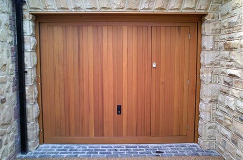 Timber Up Over Garage Door With Pedestrian Access Garage Doors