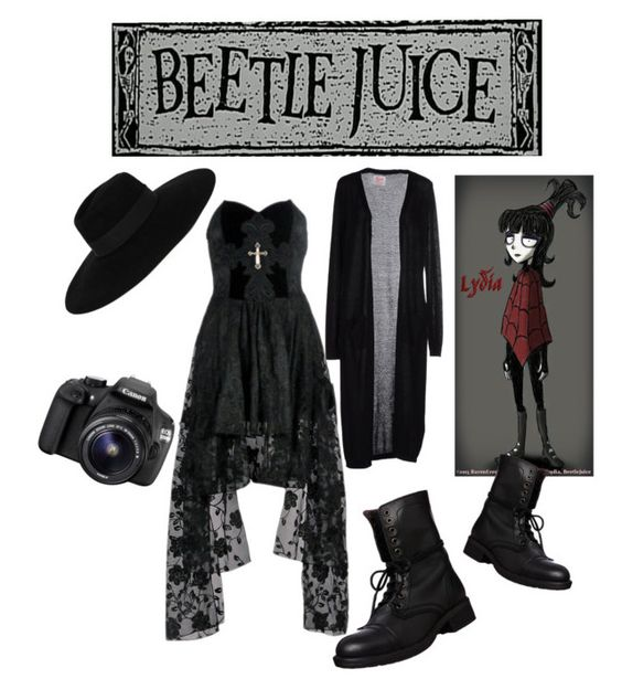 """""""Lydia Deetz"""" by yesofcoursefrankiero ❤ liked on Polyvore featuring SH Collection, Maison Michel, Steve Madden and Eos"""