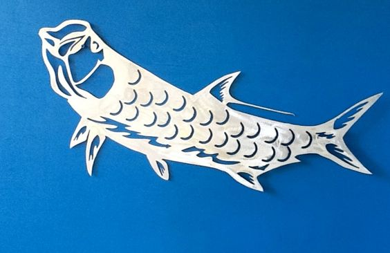 Metal gamefish art tarpon scales aluminum sculpture for Fish without scales