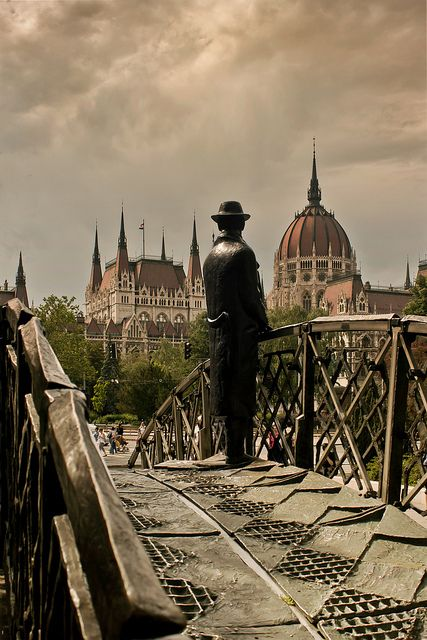 Statue of Imre Nagy, facing the Parliament at Vértanúk tere (Martyrs' square) in Budapest. By JoF Photography