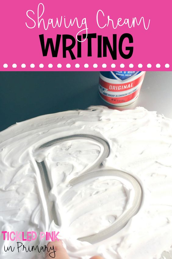 Shaving cream writing is a fun way to practice writing letters