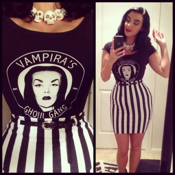 This outfit could not possibly be any more awesome!♥ Vampira top and black and white striped skirt                                                                                                                                                      More