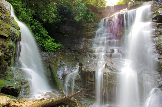Soco Falls, waterfall near Cherokee, Blue Ridge Parkway and Maggie Valley NC. Guide: http://www.romanticasheville.com/soco_falls.htm