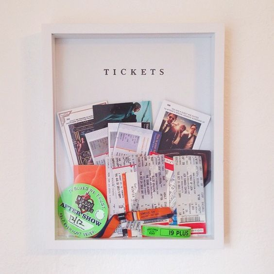 """Today's mini diy: fill a shadow box with tickets from movies, concerts, etc for a sweet way to display them  #diy #concert #tickets #display"""