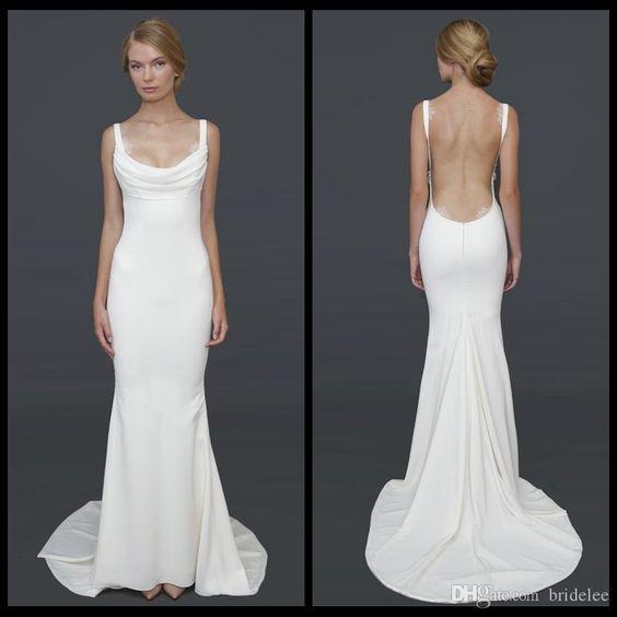 Pinterest the world s catalog of ideas for Backless satin wedding dress
