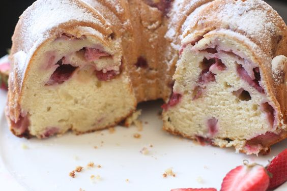 Strawberry Buttermilk Bundt Cake- I can't get enough strawberries!