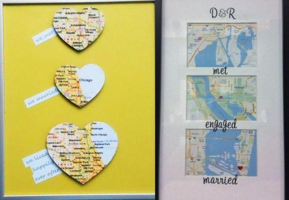 Karte mit den Standorten der Beziehungsgeschichte von dem Ehepaar basteln