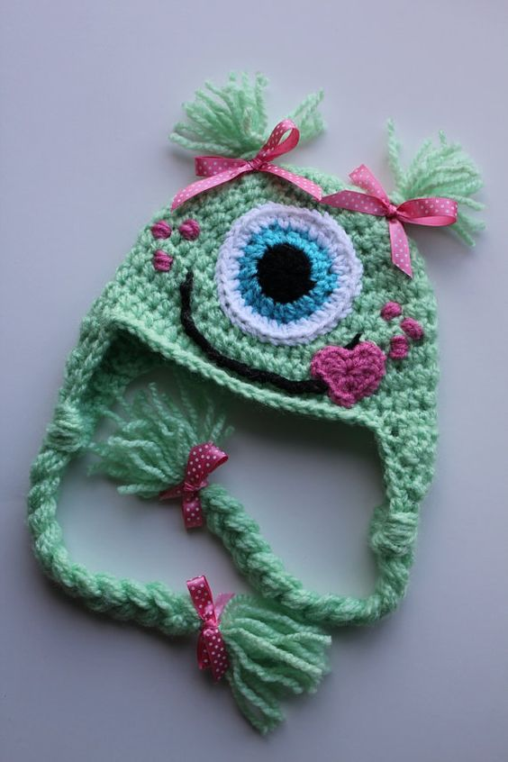 One Eyed Monster Earflap HatCustom made any size by TopsForAllTots, $20.00: