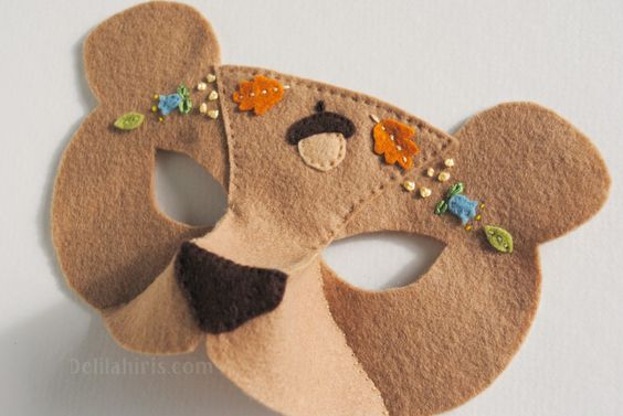 embroidered felt mask woodland bear tutorial: