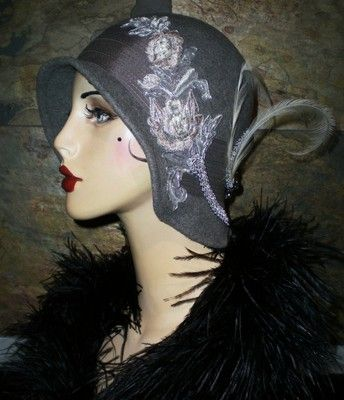OOAK Vtg 20's Gray Felt Flapper Girl Cloche Hat Marcasite Bee Floral Embroidery | eBay
