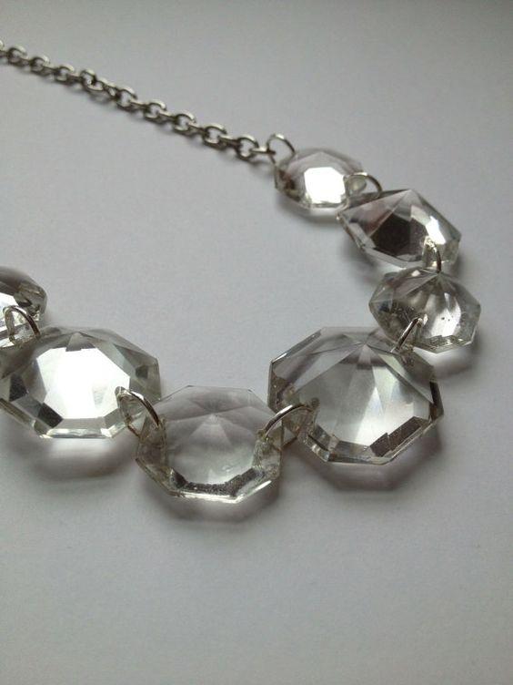 Large vintage clear chandelier crystal by LulusPetalsJewelry, $36.00