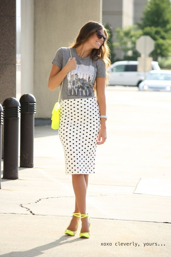 Graphic Tee + polka dots pencil + maybe not neon, but maybe dark red in place of yellow