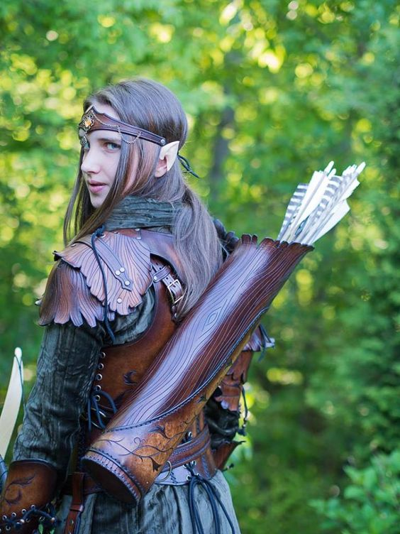 elven leather armor back view by Lagueuse: