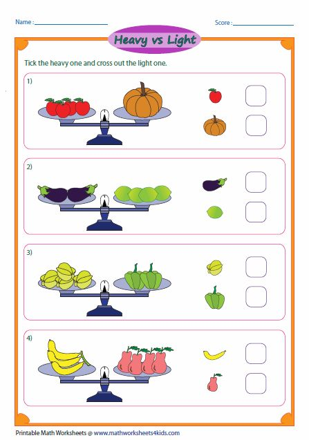 math worksheet : heavy vs light balancing scale  size comparison  pinterest  : Math Worksheets 4 Kids