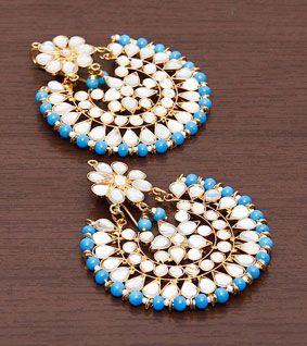 Blue & White Embellished Earrings