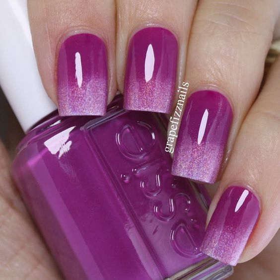 Glitter purple nail polish