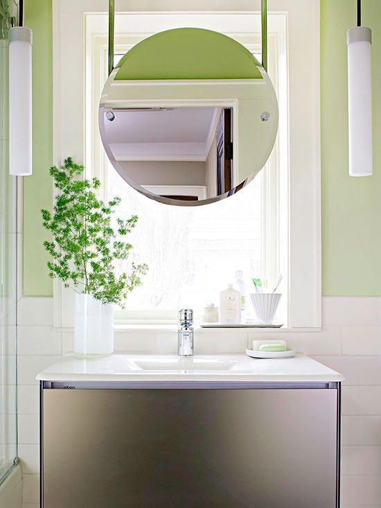 Modern Small Bath Makeover Bathroom Windows Round Mirror Bathroom Trendy Bathroom
