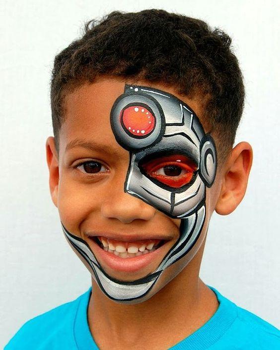 Super Cyborg A Cool Design Inspired By The Talented Artsynani Robot Cyborg Boy Facepa Face Painting For Boys Face Painting Halloween Face Painting Easy