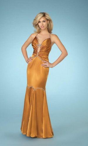 Orange Mermaid/Trumpet Long/Floor-length Backless Prom Dress PD3E5F