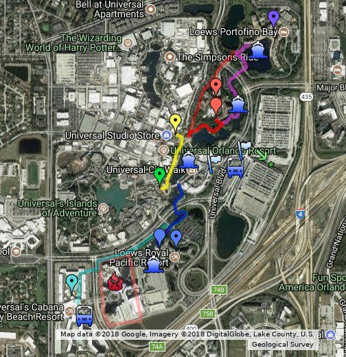 Universal Onsite Guest Resort Google Map with Pins | Florida ...