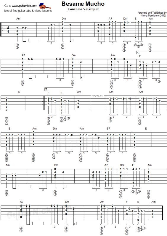 Besame Mucho - fingerstyle guitar tablature : Guitar : Pinterest : Tablature, Guitar and ...