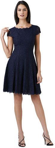 ADRIANNA PAPELL Lace Fit &amp- Flare Dress - navy cocktail dress ...