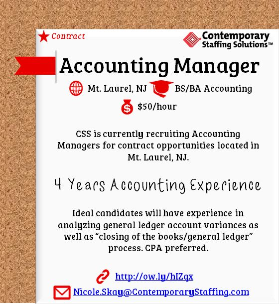 CSS is #hiring Accounting Managers in Mt. Laurel, NJ l $50/hr l ...