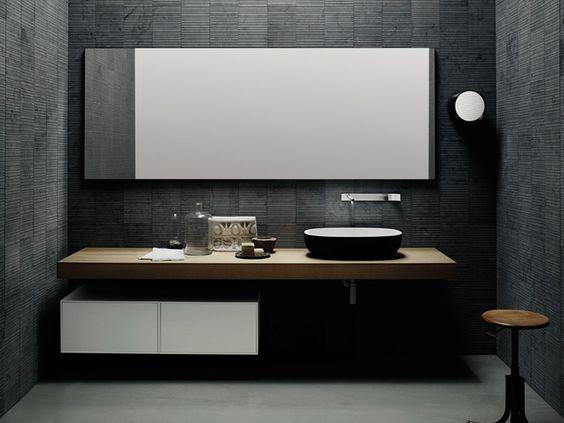 Bancada de lavatório de madeira estilo moderno FLYER | Bancada de lavatório de carvalho by Boffi