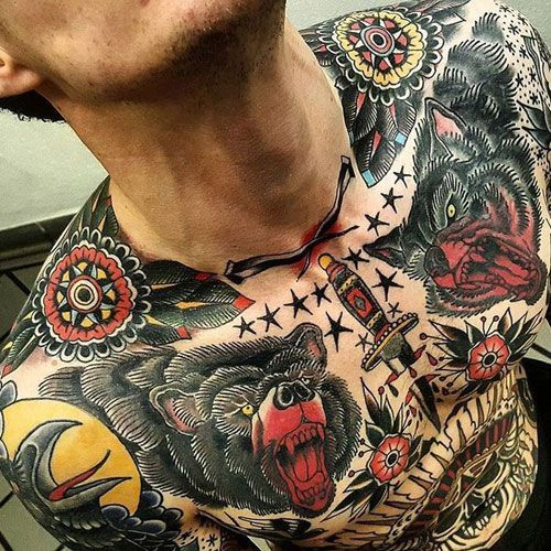 Traditional Chest Tattoo Best Chest Tattoos For Men Cool Chest Tattoo Ideas Designs Tattoos Cool Chest Tattoos Chest Tattoo Men Traditional Chest Tattoo