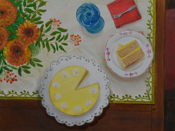 Lemon Meringue Cake - 12 x 16 original oil painting