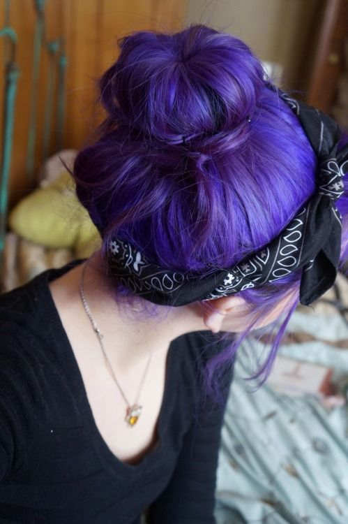 vibrant purple hair