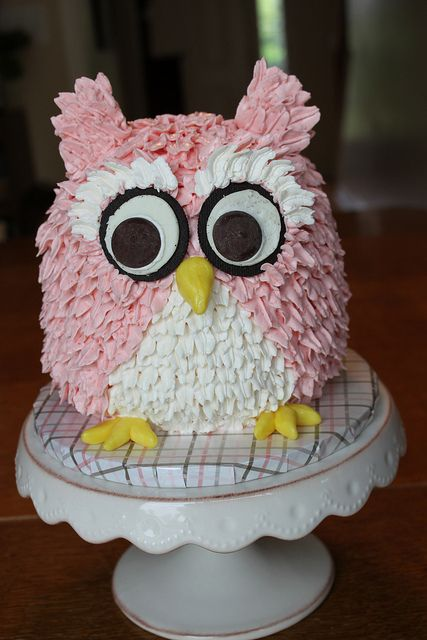 Pink Owl Cake by Fat Cat Cakes, via Flickr