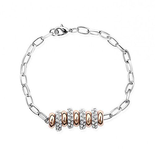 Le Premium® String von Glück Braut Armband MADE WITH SWAROVSKI® ELEMENT Crystals Crystal Clear Rose Gold überzogener Charme | Your #1 Source...