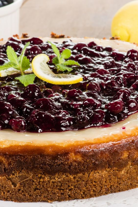 Lemon cheesecake, Lemon cheesecake recipes and Blueberries on ...