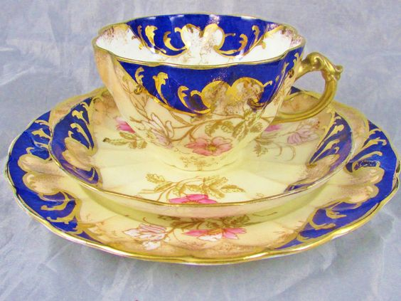 RARE CAULFIELD & CO. BLUSH PINK FLORAL TRIO TEA CUP AND SAUCER