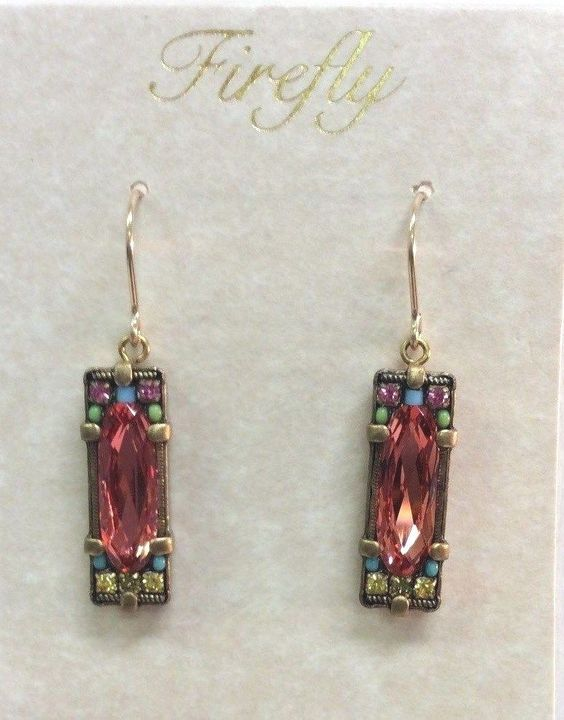 Firefly Jewelry Padparadscha Crystal Earrings Handcrafted New With Tag  #Firefly #DropDangle