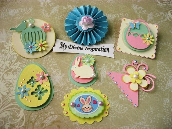 Easter Bunny and Eggs Spring Paper Embellishments and  Paper Flowers for Scrapbooking Cards Mini Albums and Papercrafts: