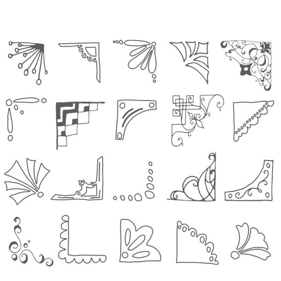Lindo cuadro ángulos Clip Art / / mano dibujado por thePENandBRUSH