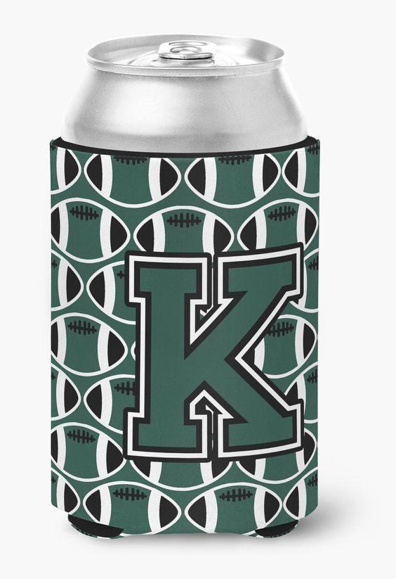 Letter K Football Green and White Can or Bottle Hugger CJ1071-KCC