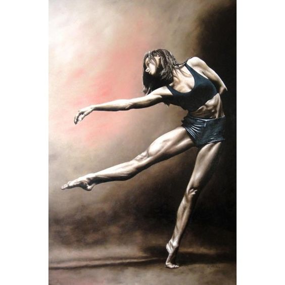 With Strength and Grace fine art contemporary modern dance oil... ❤ liked on Polyvore featuring dance, people and dancer