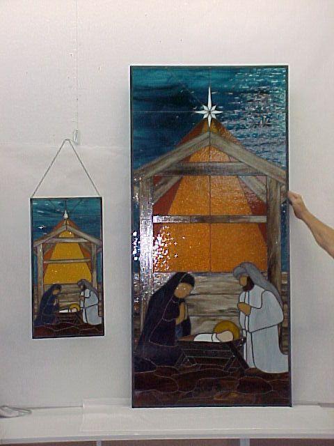 Nativity - Large & Small Panels - Bethel Chapel Church, Poplar Bluff, MO 2005 & 2008, by Sandy (Johnson) Burnett, (formerly Glass with a MIssion, Art-Attack-Studios,  GlassMoose.com)