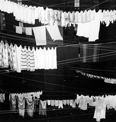 "Prayer Flags from life.    Rebecca Lepkoff  (""Clothesline on Prince Street"", 1946)"