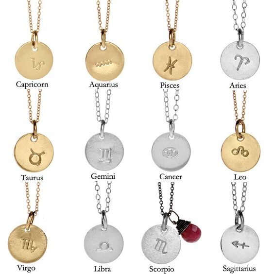 Mini Stamped Zodiac Symbol Necklace with Gemstone. Give a personalized gift this holiday season.  30% off w. code CYBER30 through 12.3.11. $54.60