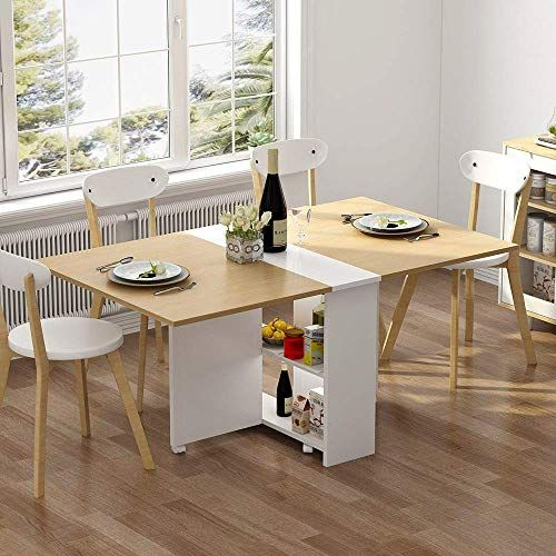 Best Seller Tribesigns Folding Dining Table 6 Wheels Movable