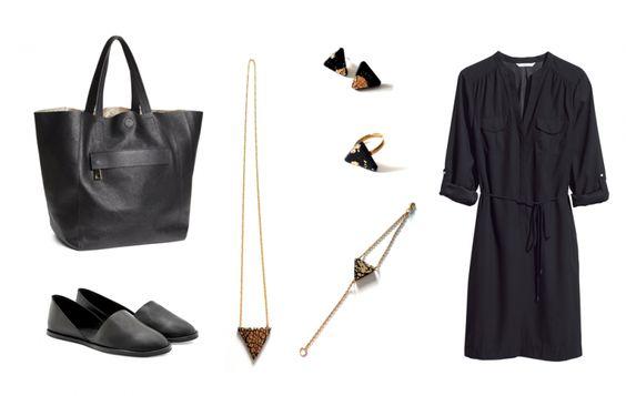 Kleid - H&M, schwarzer Ledershopper - H&M, Lederballerinas - COS, Schmuck - DIY von SOMMERform