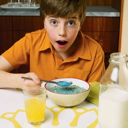 April Fools Food...milk that changes color when added to cereal